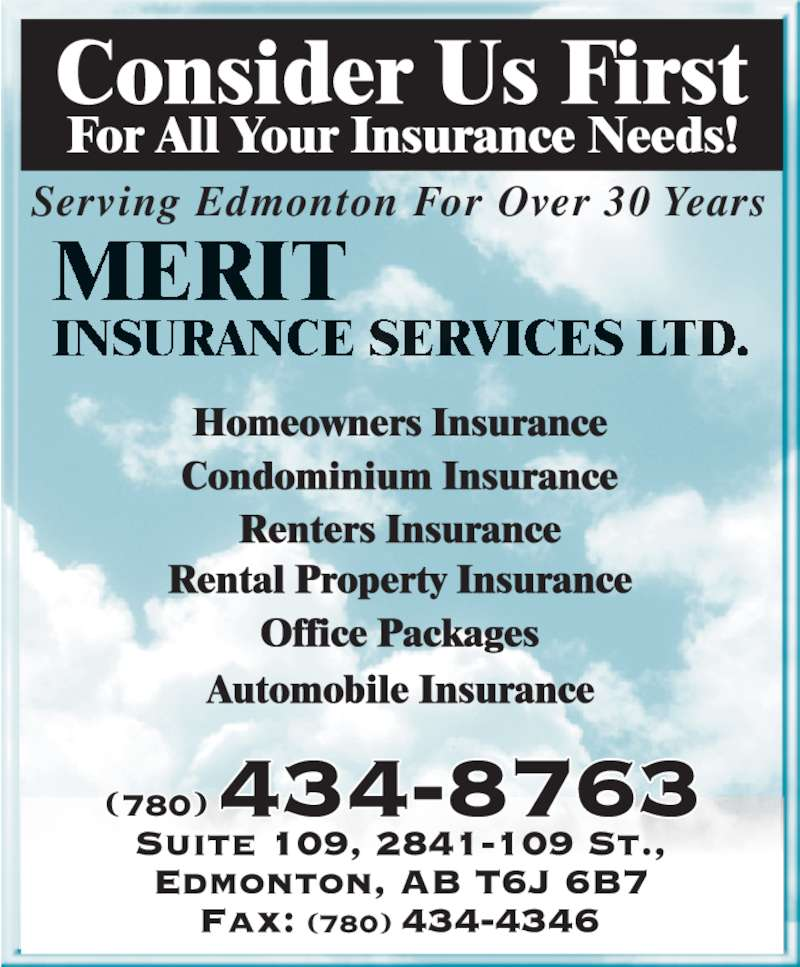 Merit Insurance Services Ltd (780-434-8763) - Display Ad - Serving Edmonton For Over 30 Years (780) (780)