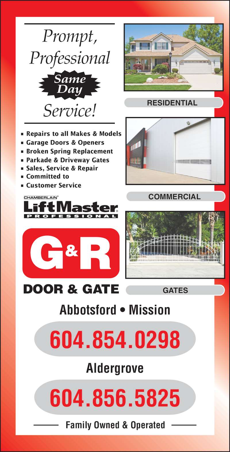 G Amp R Door Amp Gate Opening Hours 34825 Skyline Dr