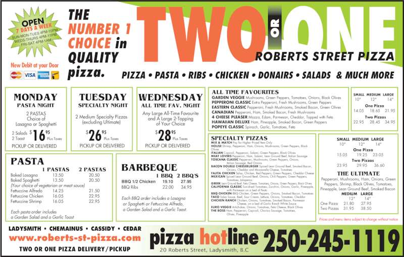 Roberts St Pizza - Menu, Hours & Prices - 20 Roberts St ...