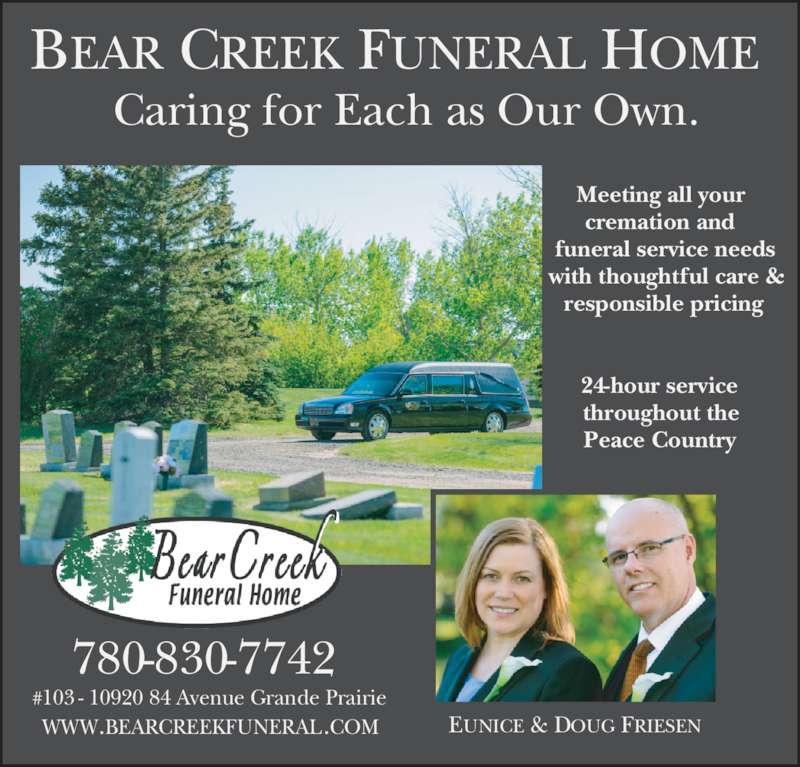 Bear Creek Funeral Home Grande Prairie Ab 103 10920
