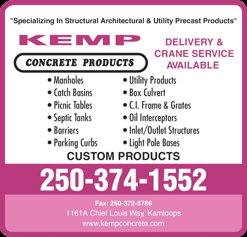 Kemp concrete products kamloops bc 1161a chief louis for A m salon equipment st louis mo