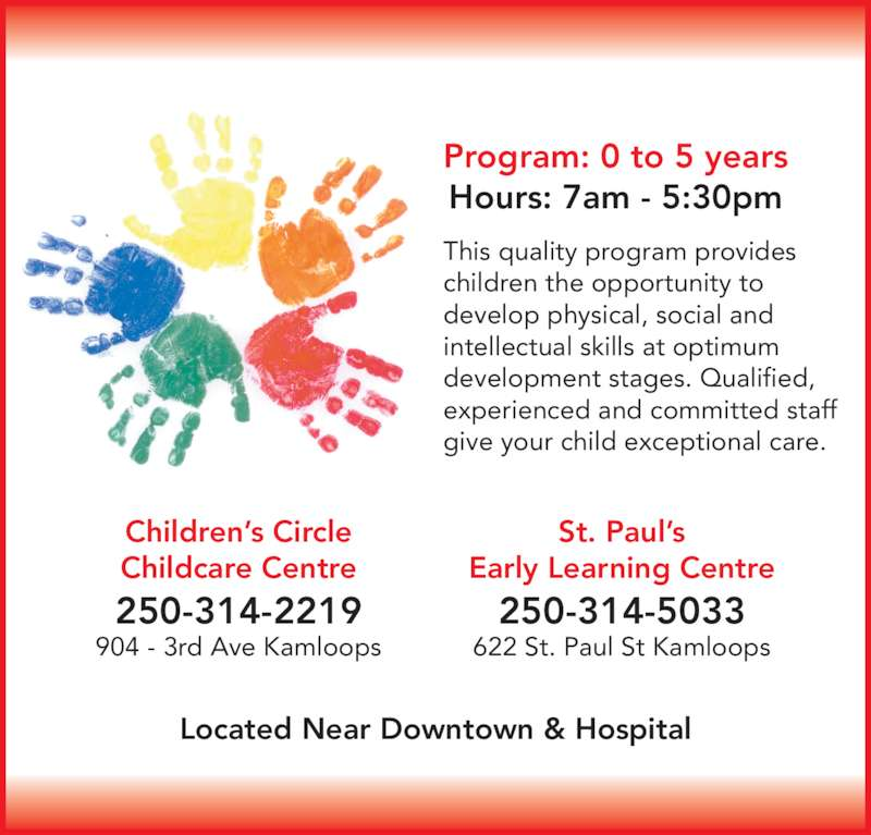 Childrens Circle Daycare - Opening Hours - 904 3rd Ave, Kamloops, BC