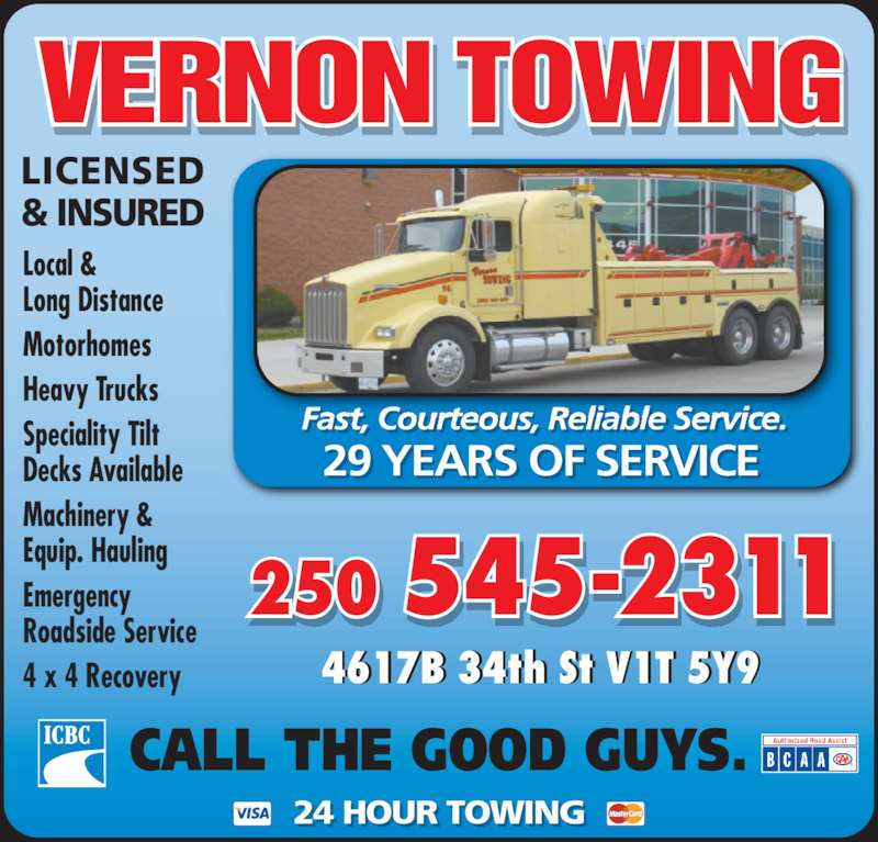 Vernon towing vernon bc 4617a 34 street canpages for 24 hour tanning salon near me