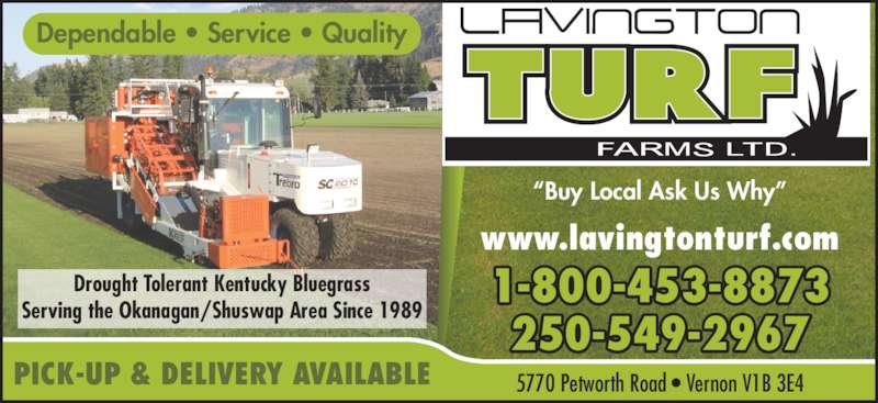 """Lavington Turf Farms Ltd (250-549-2967) - Display Ad - Drought Tolerant Kentucky Bluegrass Serving the Okanagan/Shuswap Area Since 1989 1-800-453-8873 250-549-2967 www.lavingtonturf.com Dependable • Service • Quality """"Buy Local Ask Us Why"""" 5770 Petworth Road • Vernon V1B 3E4PICK-UP & DELIVERY AVAILABLE"""