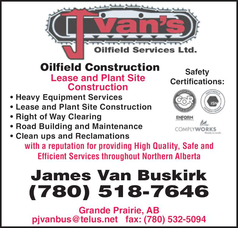Oilfield Cleaning Services : J van s oilfield services ltd grande prairie ab