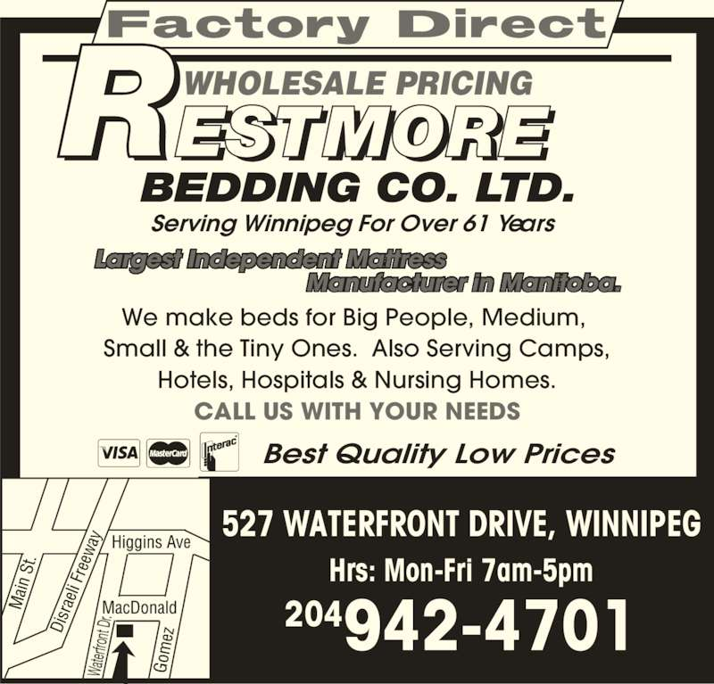 Restmore Bedding Co Ltd Opening Hours 527 Waterfront