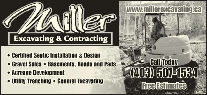 Miller Excavating & Contracting (403-507-1534) - Annonce illustrée======= -