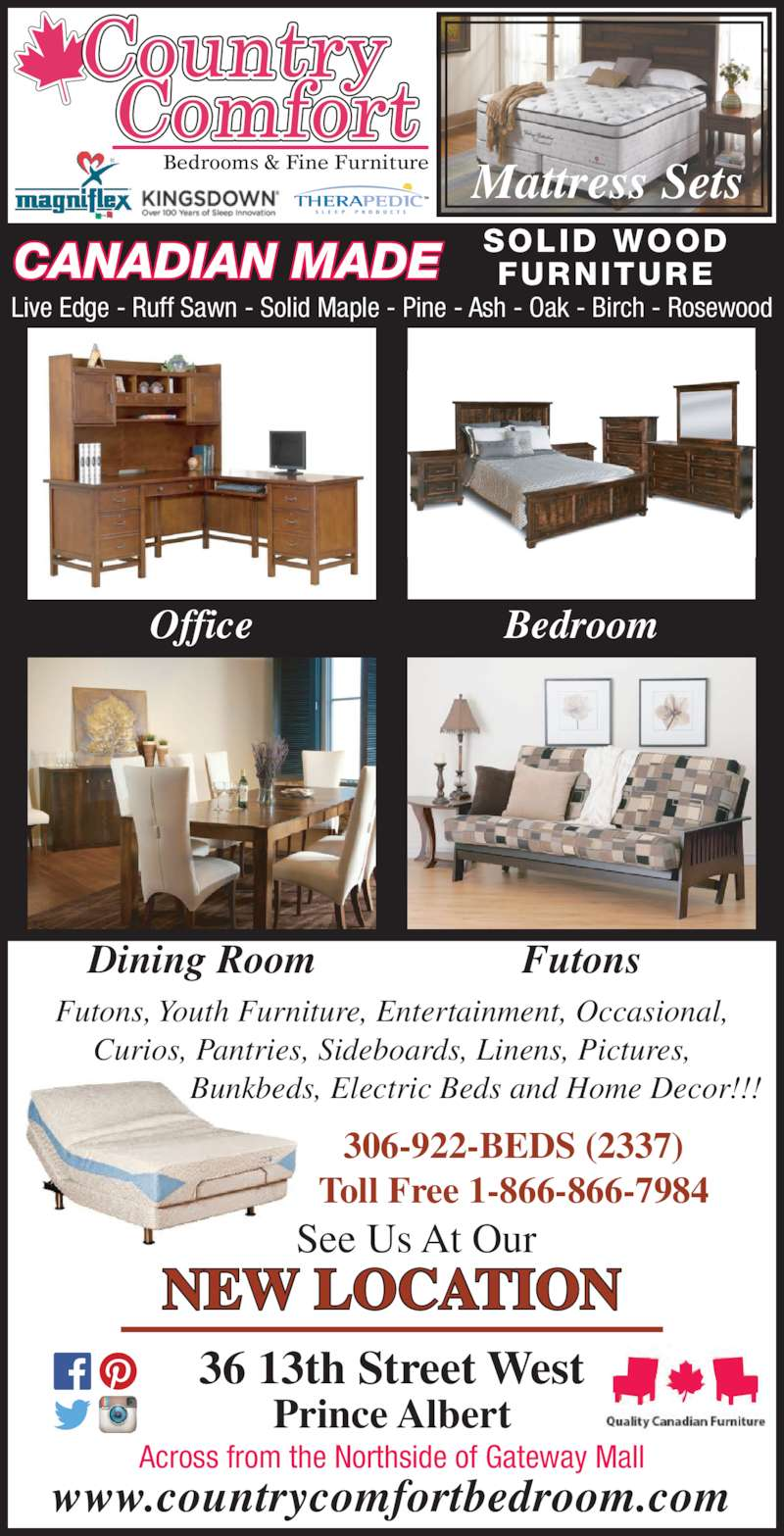 Country Comfort Bedrooms Fine Furniture Opening Hours 36 13th St W Prince Albert Sk