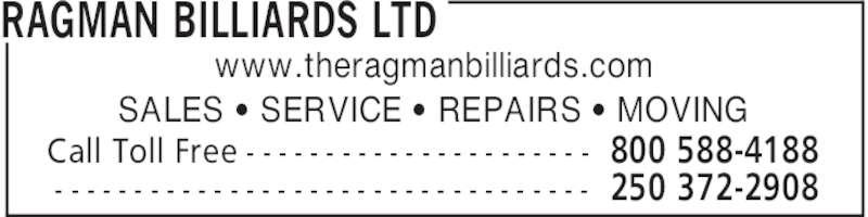 Ragman Billiards Ltd Kamloops Bc 986 Victoria St
