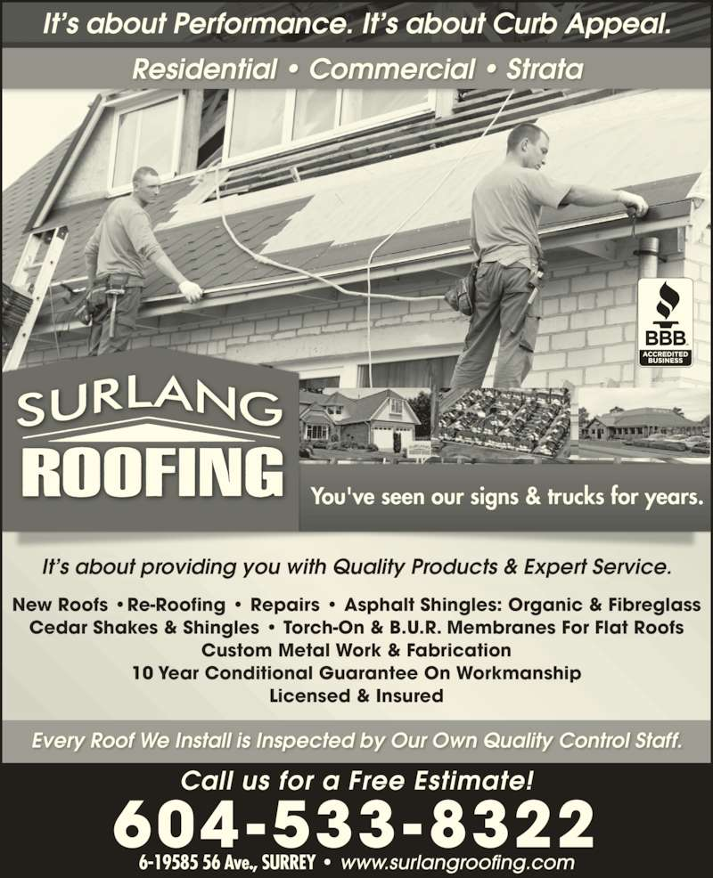 Surlang Roofing Ltd Opening Hours 6 19585 56 Ave