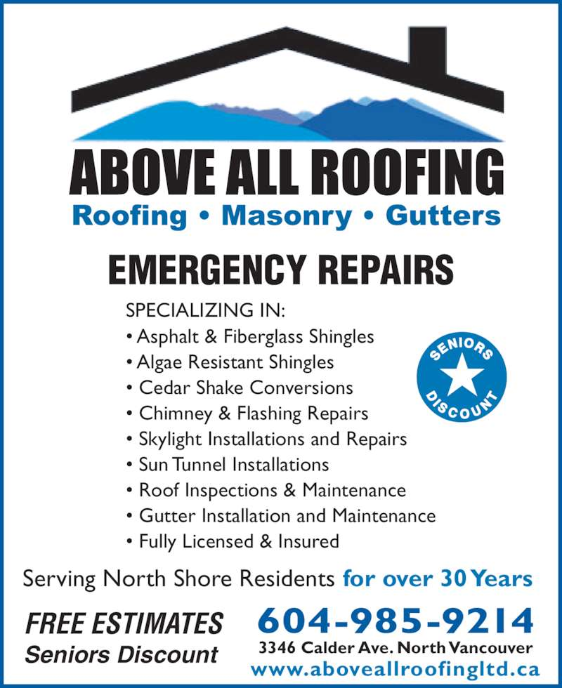 Above All Roofing North Vancouver Bc 3346 Calder Ave