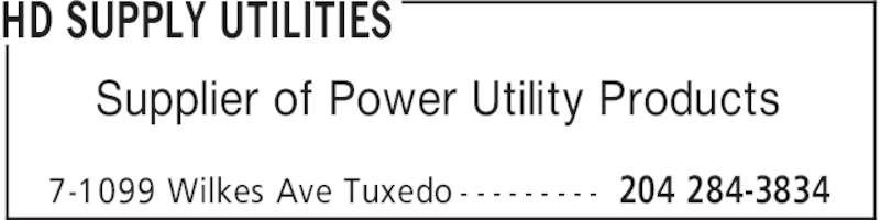 HD Supply Utilities (204-284-3834) - Annonce illustrée======= -