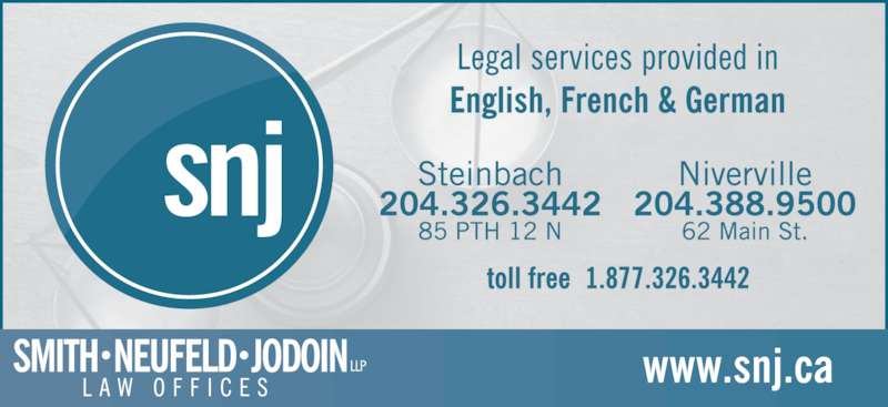 Smith Neufeld Jodoin LLP (2043263442) - Display Ad -