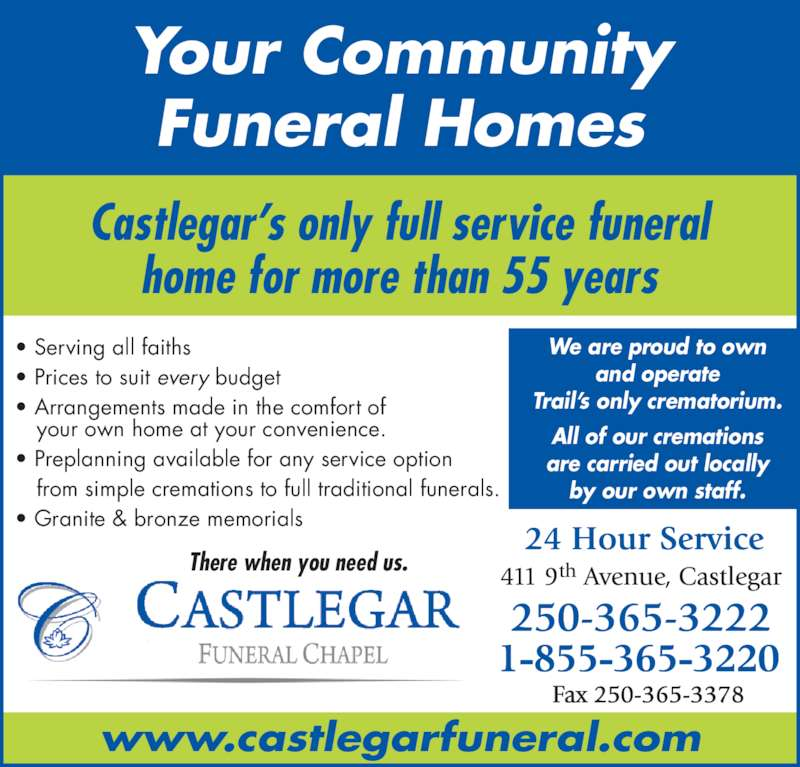 Castlegar funeral chapel castlegar bc 411 9th ave for 24 hour tanning salon near me