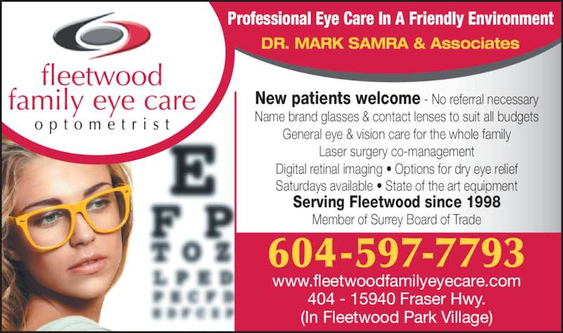 Fleetwood Family Eye Care Optometry Clinic Surrey Bc