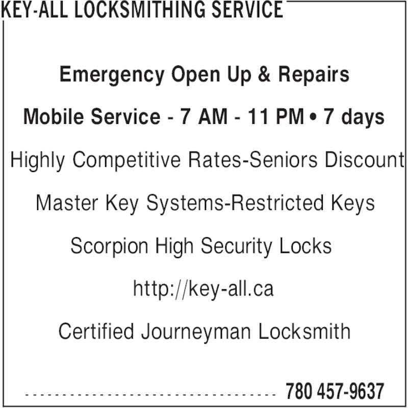 Key All Locksmithing Service Canpages