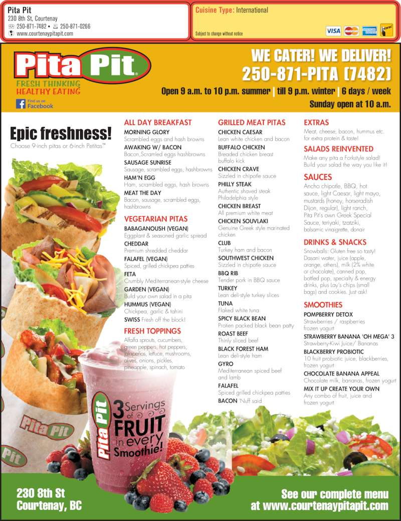 picture regarding Pita Pit Printable Menu named Pita pit vitamins and minerals facts : Slender capris