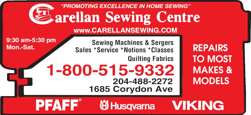 Carellan Sewing Centre Winnipeg Mb 1685 Corydon Ave