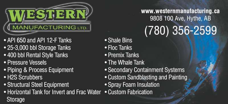 Western Manufacturing Ltd Opening Hours 9808 100 Ave