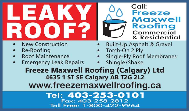 Freeze Maxwell Roofing (Calgary) Ltd (403-253-0101) - Display Ad -