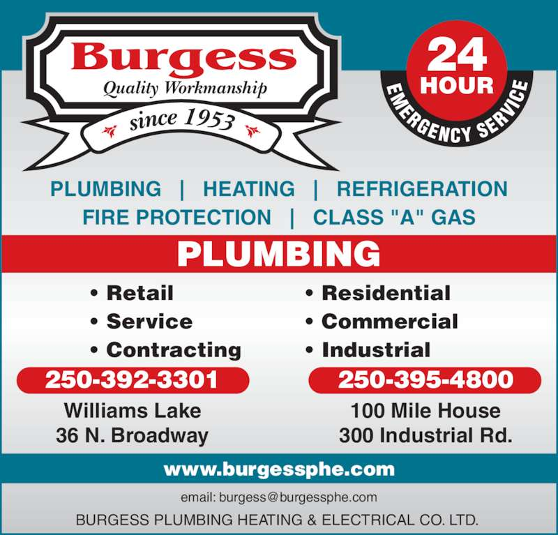 Burgess Plumbing Heating Amp Electrical Co Ltd Williams