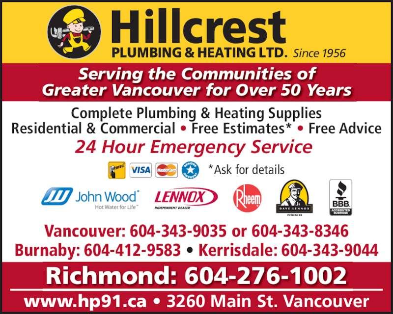 Hillcrest Plumbing & Heating (6048795301) - Annonce illustrée======= -