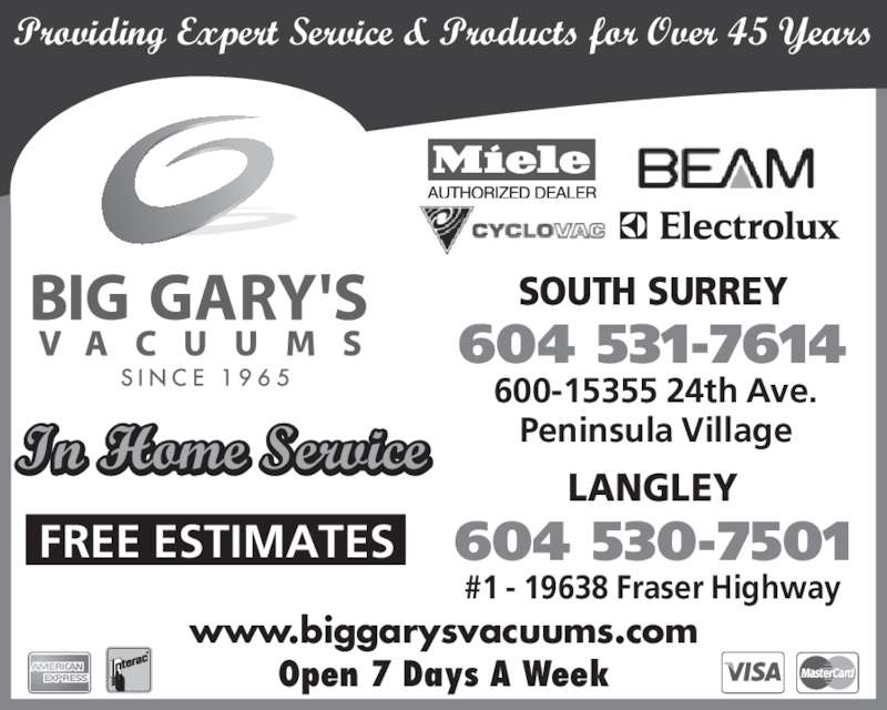 ad Big Gary's Vacuum Systems Warehouse - Langley Branch