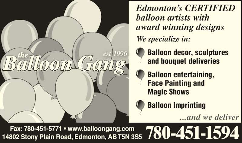 The Balloon Gang (780-451-1594) - Annonce illustrée======= -