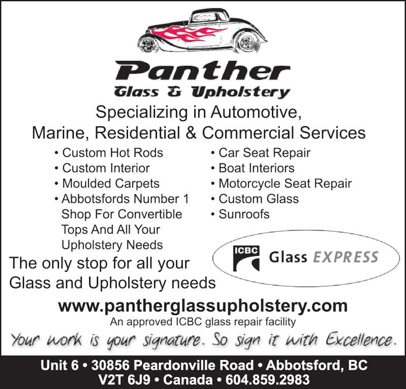 Panther Glass & Upholstery (604-859-2983) - Display Ad -