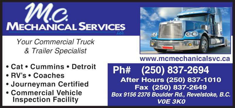 M C Mechanical Services Ltd Revelstoke Bc 2376