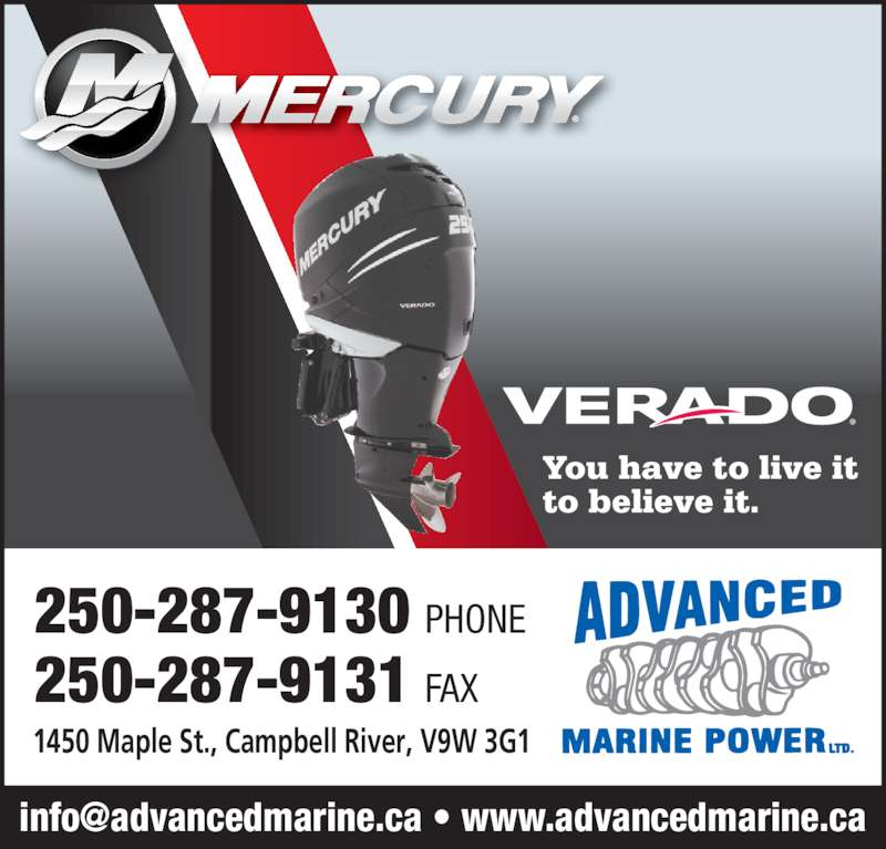 Volvo-Penta (250-287-9130) - Display Ad - 250-287-9130 PHONE 250-287-9131 FAX 1450 Maple St., Campbell River, V9W 3G1 You have to live it to believe it.