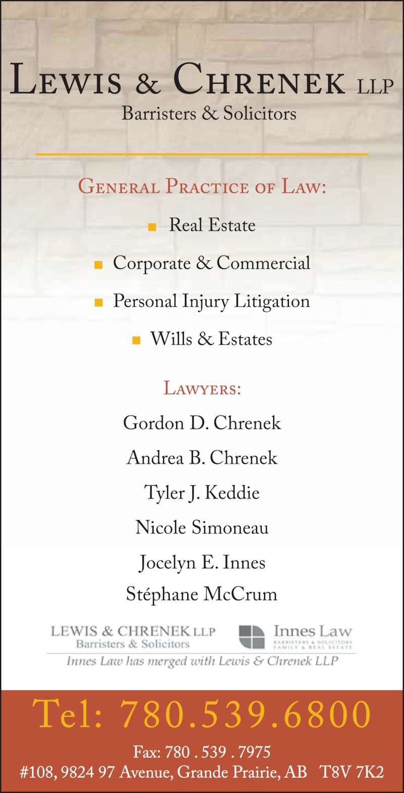 Lewis & Chrenek LLP (780-539-6800) - Display Ad -
