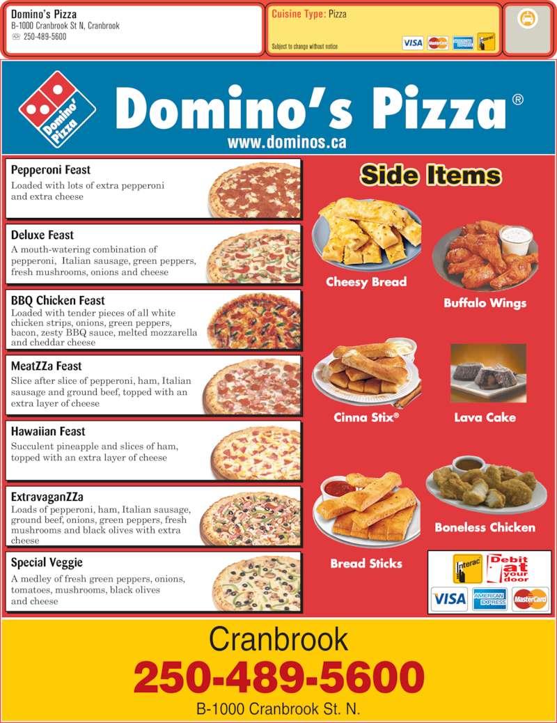 Domino 39 s pizza cranbrook bc 1000 cranbrook street n - Dominos pizza paterna ...
