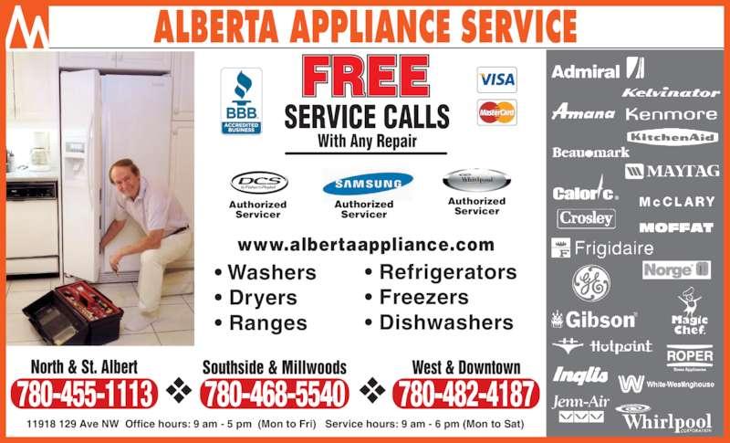 Alberta appliance service edmonton ab 11918 129 avenue nw canpages - Kitchenaid parts edmonton ...