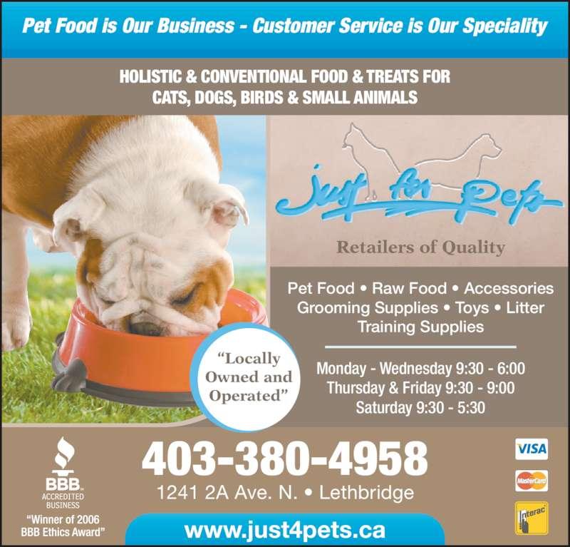 Just For Pets (403-380-4958) - Annonce illustrée======= -