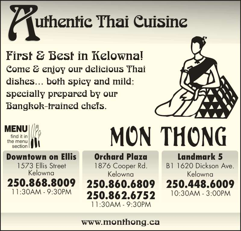 Mon Thong Thai Restaurant On Ellis Kelowna Bc