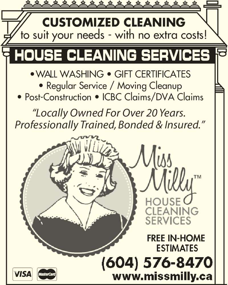 miss milly house cleaning services opening hours 17790 hwy 10 miss milly house cleaning services 604 576 8470 display ad