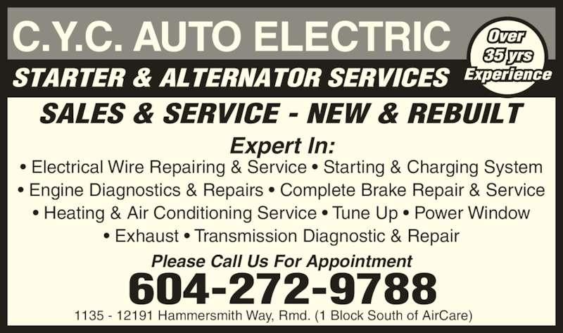 Cyc auto tech inc opening hours 1135 12191 hammersmith Electric motor repair columbia sc