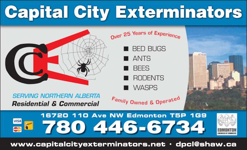Capital City Exterminators (780-446-6734) - Display Ad - BEES   RODENTS   WASPS Residential & Commercial  Capital City Exterminators 780 446-6734 16720 110 Ave NW Edmonton T5P 1G9 SERVING NORTHERN ALBERTA   BED BUGS  ANTS   BEES   RODENTS   WASPS Residential & Commercial  Capital City Exterminators 780 446-6734 16720 110 Ave NW Edmonton T5P 1G9 SERVING NORTHERN ALBERTA   BED BUGS  ANTS