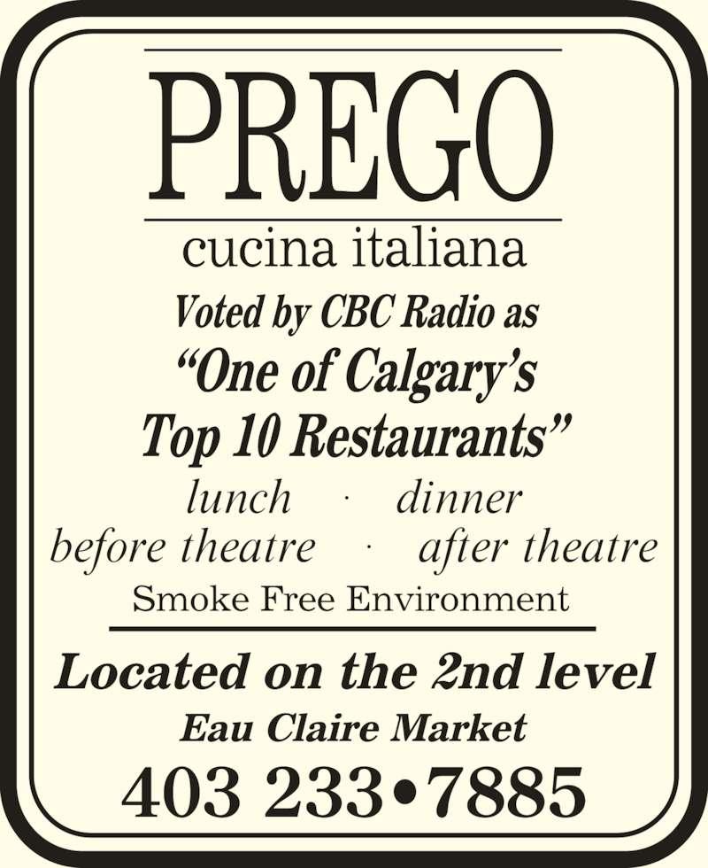 Prego Cucina Italiana (403-233-7885) - Display Ad - 403 233?7885