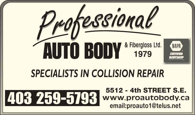 Professional Autobody & Fiberglass Ltd. (403-259-5793) - Display Ad - & Fiberglass Ltd.