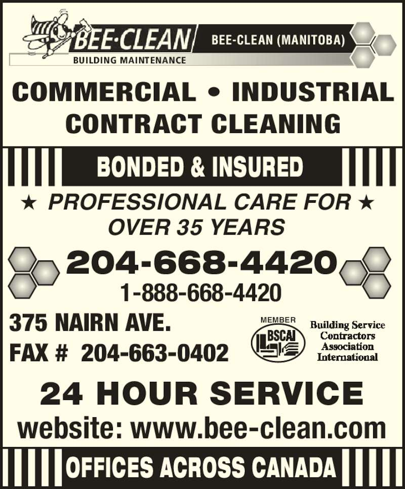 Bee Clean Manitoba Winnipeg Mb 375 Nairn Ave Canpages
