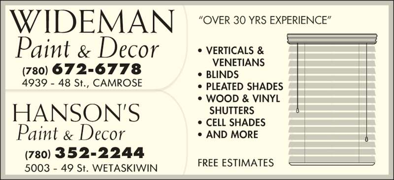 Wideman Paint & Decor (780-672-6778) - Annonce illustrée======= -