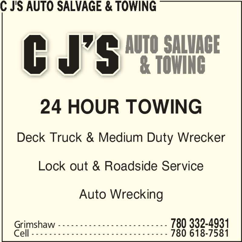 C j 39 s auto salvage towing grimshaw ab po box 738 for 24 hour tanning salon near me