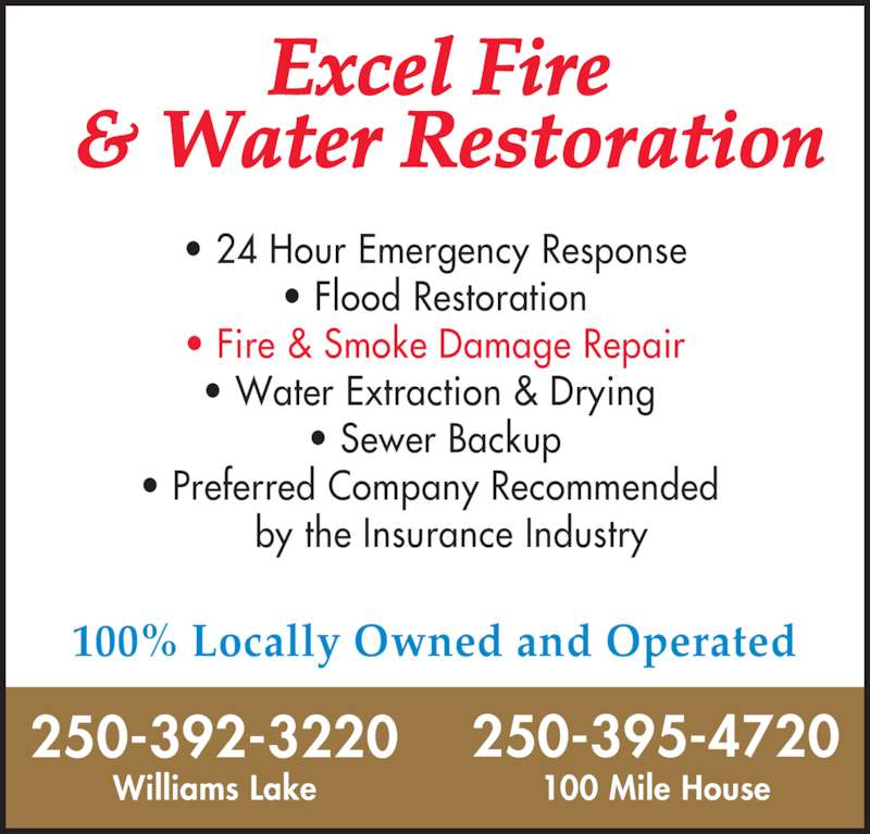 Excel fire water restoration williams lake bc 1802 for 24 hour tanning salon near me