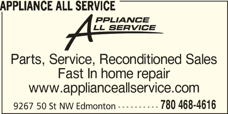 Appliance all service in home service edmonton ab 9267 50 st nw canpages - Kitchenaid parts edmonton ...