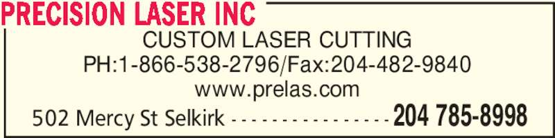 Precision laser inc selkirk mb 502 mercy st canpages for Abco salon supplies