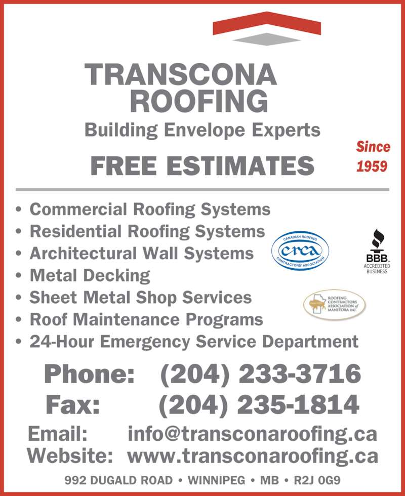 Transcona Roofing 2000 Limited Winnipeg Mb 992