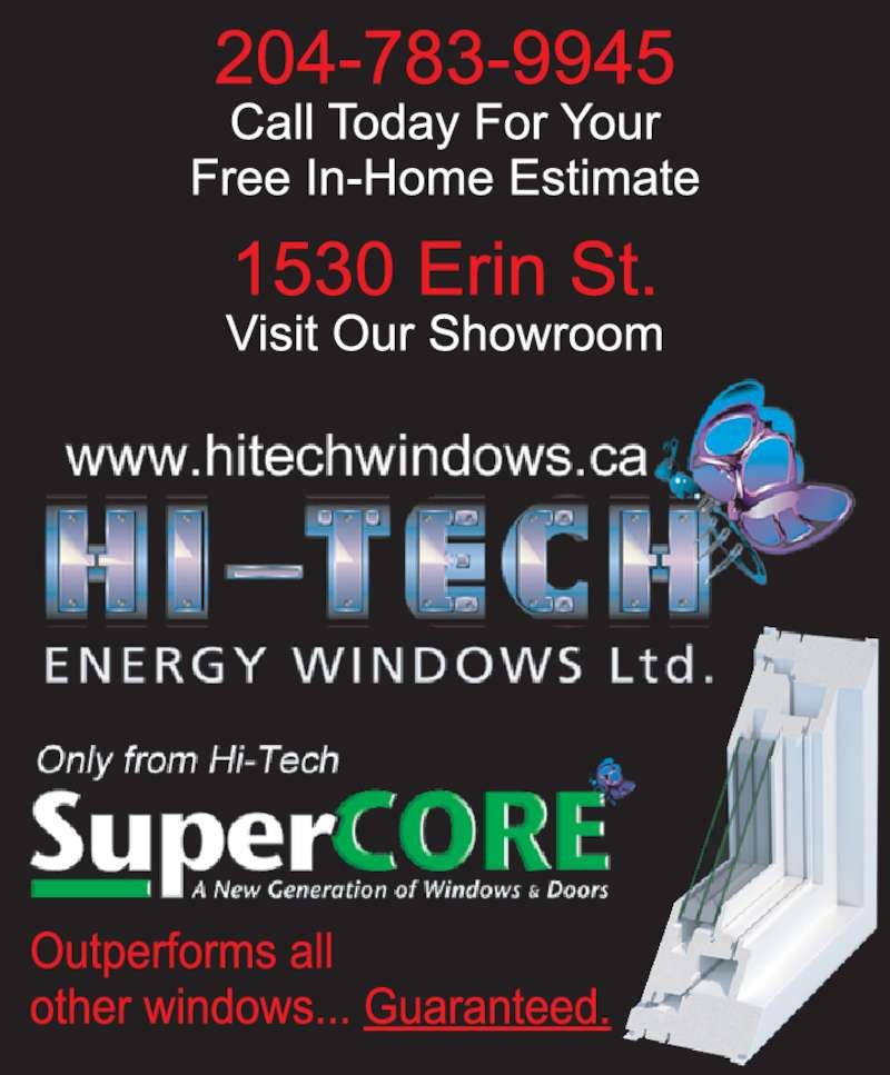 Hi tech energy windows ltd opening hours 1530 erin st for Energy windows