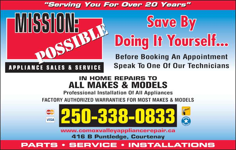 Ads Mission Possible Appliance Sales & Service